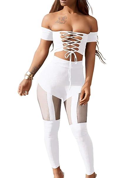 563e5a45573a Amazon.com  Lyheller Women s Sexy Criss Cross High Waist Bandage 2PCS  Clubwear Party Jumpsuit (Large