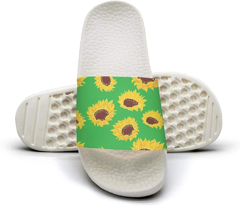 Mans Slipper Green Sketch of Stylized Golden Sunflowers Comfort Foam Open Toe Flat Slide Sandal