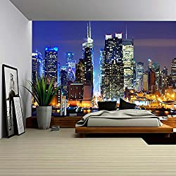 wall26 Lower Manhattan from Across the Hudson River in New York City. - Removable Wall Mural | Self-adhesive Large Wallpaper - 100x144 inches
