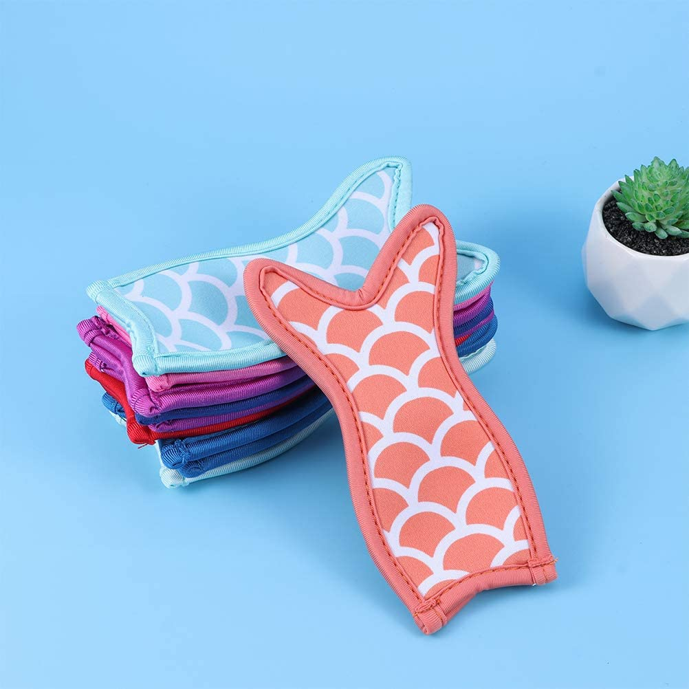 Hemoton Popsicle Holder Bags 10pcs Mermaid and Shark Ice Pop Holders Bags Freezer Ice Pop Sleeves Covers Reusable Popsicle Covers