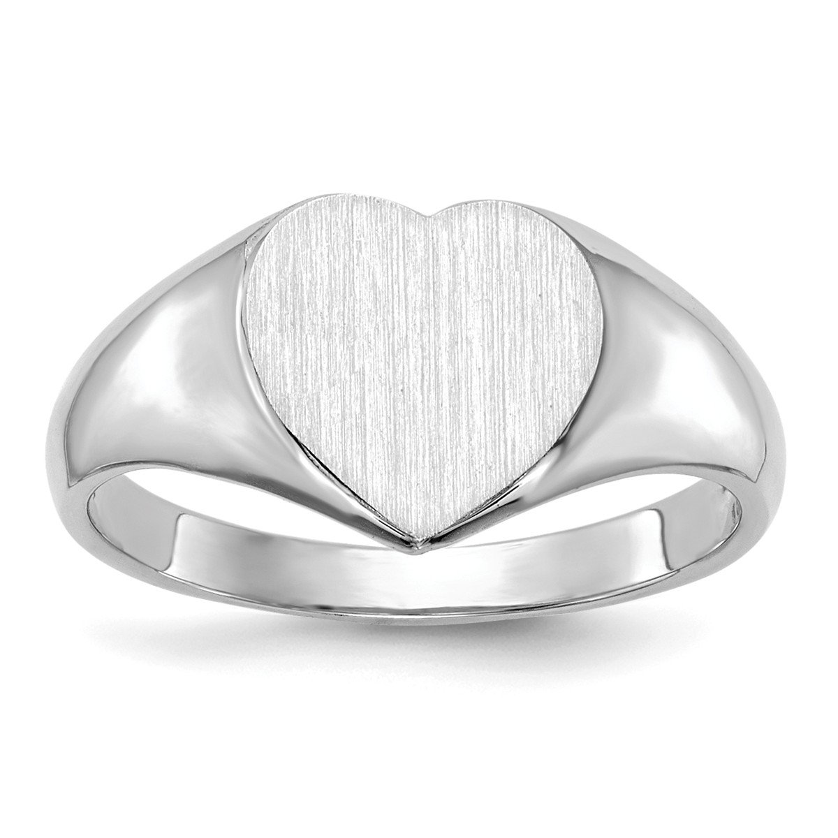 Roy Rose Jewelry 14K White Gold Open Back Womens Heart Design Top Signet Ring Custom Personailzed with Free Engraving Available Initial ~ Size 4