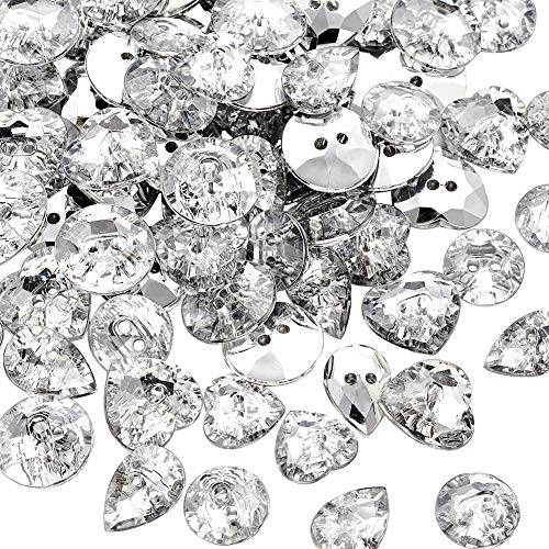Pandahall 50g/150pcs Mixed 2-Hole Acrylic Rhinestone Buttons Faceted Silver Plated Rivoli Back Clear Sewing Fastening Garment Buttons BUTT-X0003 ()