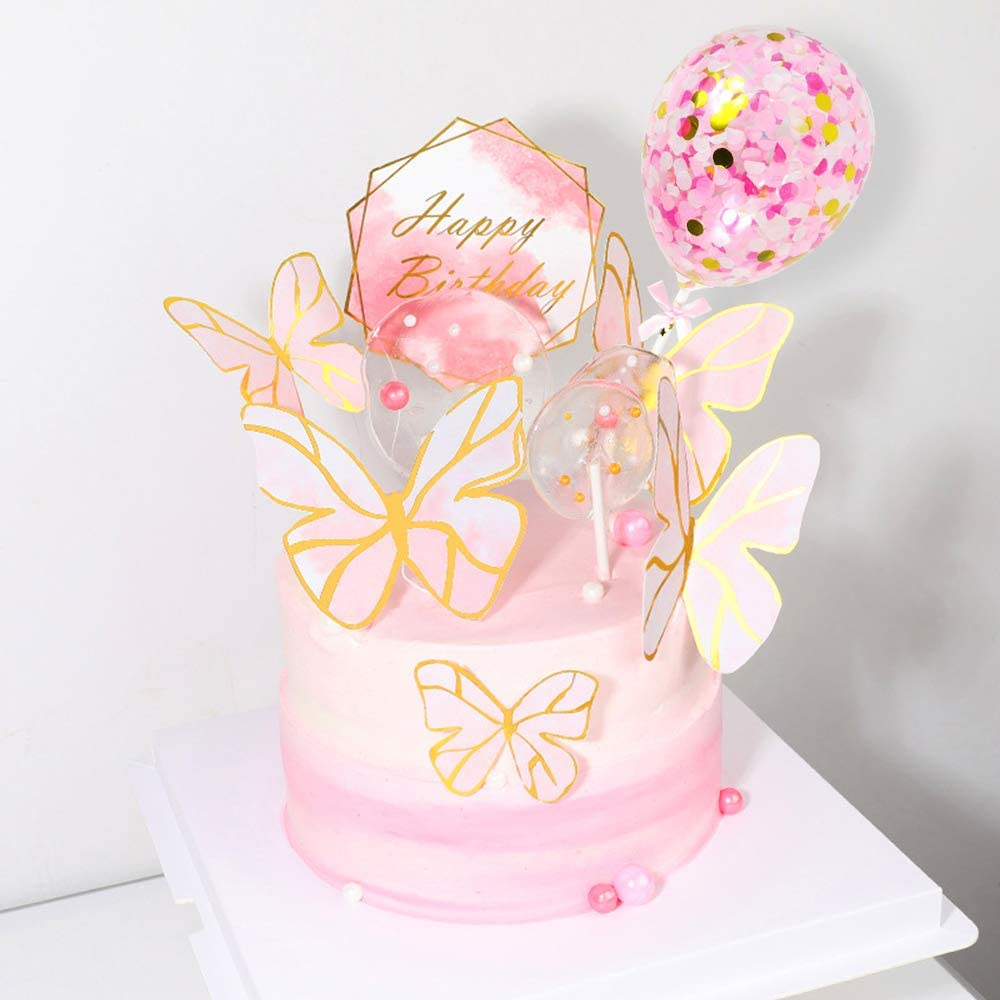 Confetti Balloon Topper para Baby Shower Infantiles Ni/ña Birthday Decoration MMTX Decoracion Tarta Cumplea/ños Ni/ña Mariposas Decorativas Cake Topper con Happy Birthday Banner Topper