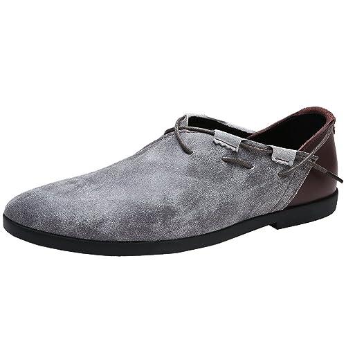 Jamron Hombres Moda Cuero Genuino de Gamuza Vendimia Conducción Mocasines Cómodo Casual Baja Arriba Zapatos Planos del Barco: Amazon.es: Zapatos y ...
