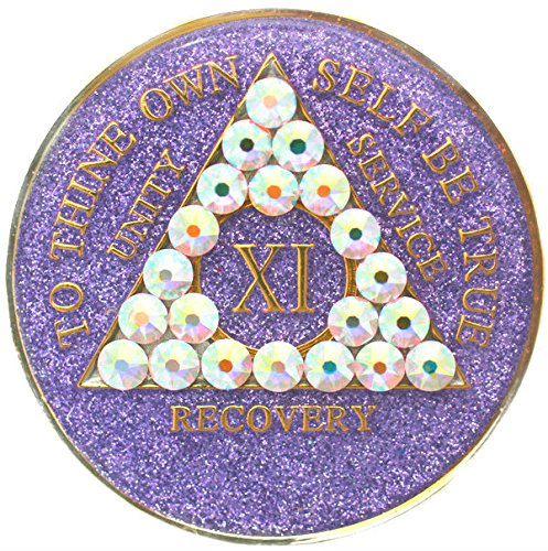 - Recovery Mint 1 Year Purple Glitter with Bling Swarovski Crystallized Tri-Plate Alcoholics Anonymous Medallion- AA Sobriety Chip