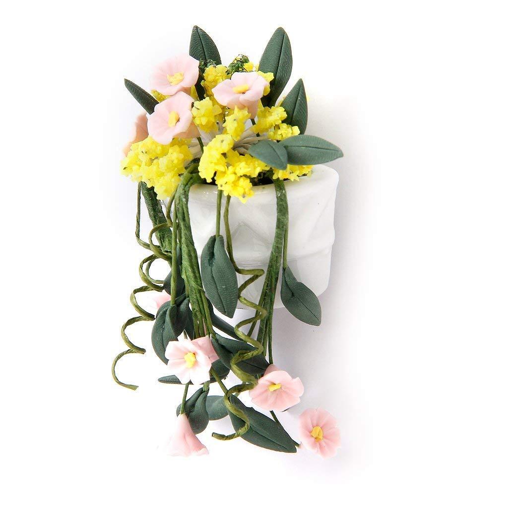 Naisidier ミニ壁掛け花瓶 1/12スケール ドールハウスオーナメント ミニチュア植物 ガーデンアクセサリー 吊り下げ式フラワーバスケット ポット   B07HF1L2SZ