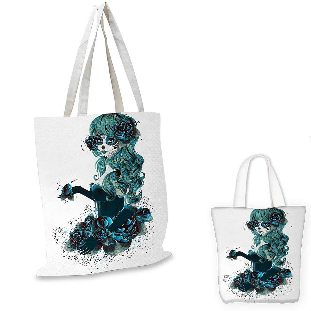 Skull canvas messenger bag Vintage Sugar Skull Girl Day of the Dead Bride with Dark Color Roses Graphic canvas beach bag Petrol Blue White 12x15-10
