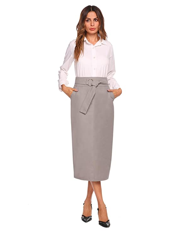 Women High Waist Package Hip Midi Solid Long Length Pencil Skirt with Belt at Amazon Womens Clothing store: