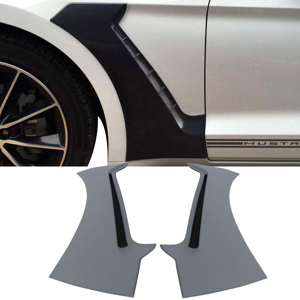 Scoops Fits 2015-2018 Ford Mustang GT350 | Style Front Side Fender Wheel Cover Protector Vent Trim Unpainted Polypropylene by IKON MOTORSPORTS | 2016 2017