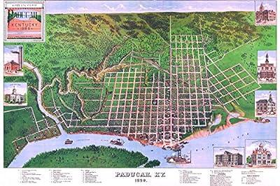Map of Paducah, Kentucky 1889; Antique Birdseye Map; Custom Printed
