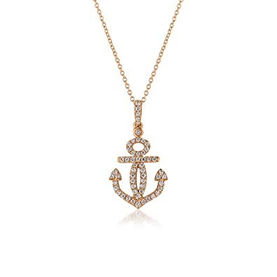 Amazoncom LeVian Diamond Anchor Necklace in 14k Rose Gold Jewelry