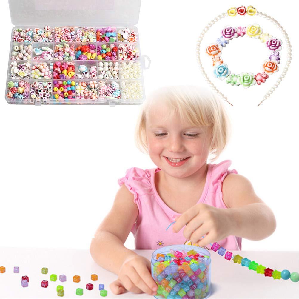 Children DIY Beads Jewelry Making Set Necklace Bracelets Colorful Acrylic Crafting Beads Kit for Kids SUMAJU Beads Set
