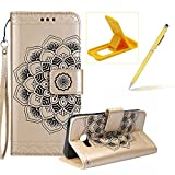 Rope Leather Case for Samsung Galaxy A720 2017,Strap Wallet Case for Samsung Galaxy A720 2017,Herzzer Bookstyle Classic Elegant Mandala Flower Pattern Stand Magnetic Smart Leather Case with Soft Inner for Samsung Galaxy A720 2017 + 1 x Free Yellow Cellphone Kickstand + 1 x Free Yellow Stylus Pen - Gold