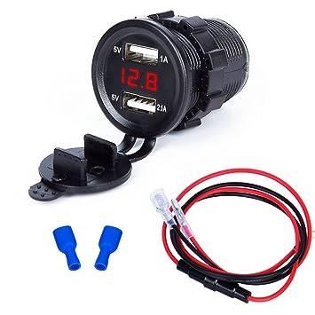 YGL Impermeable Dual USB Cargador 2.1A/1A con Pantalla de Voltaje para 12 V / 24 V Coche Barco Marine Motocicleta