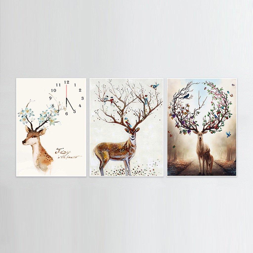 装飾的な背景クリエイティブアート絵画ウォールクロックアートマイクロフレームクリスタルクロックトリプル吊りフレームレス絵画のリビングルームダイニングルーム、3つの部分のための水平なバージョン (サイズ さいず : 60*80 cm) B07DS736W6 60*80 cm 60*80 cm