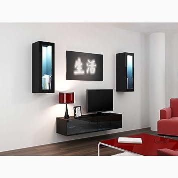 4fdfd2e336e JUSTyou Conjunto Vago VIII Mueble de salón Comedor Negro  Amazon.es  Hogar