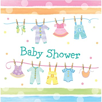Lovely Creative Converting Baby Shower Baby Clothes 16 Count 3 Ply Paper Lunch  Napkins