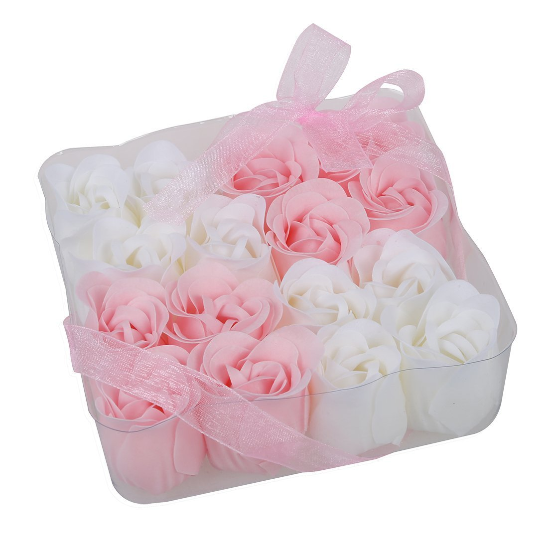 16 Pcs Pink White Bathing Scented Rose Soap Petals SODIAL(R) UKPPLBDH1019
