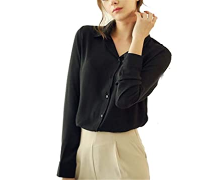 Best Annie 1PC Women Chiffon Blouse Long Sleeve Shirt Women Tops Office Lady Blusas Femininas Camisas