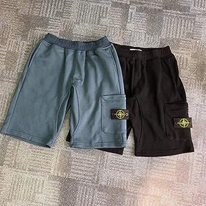 Men Cotton Short Summer Pants Basic Cotton Thin Pocket Pants Men Shorts Black,XL.