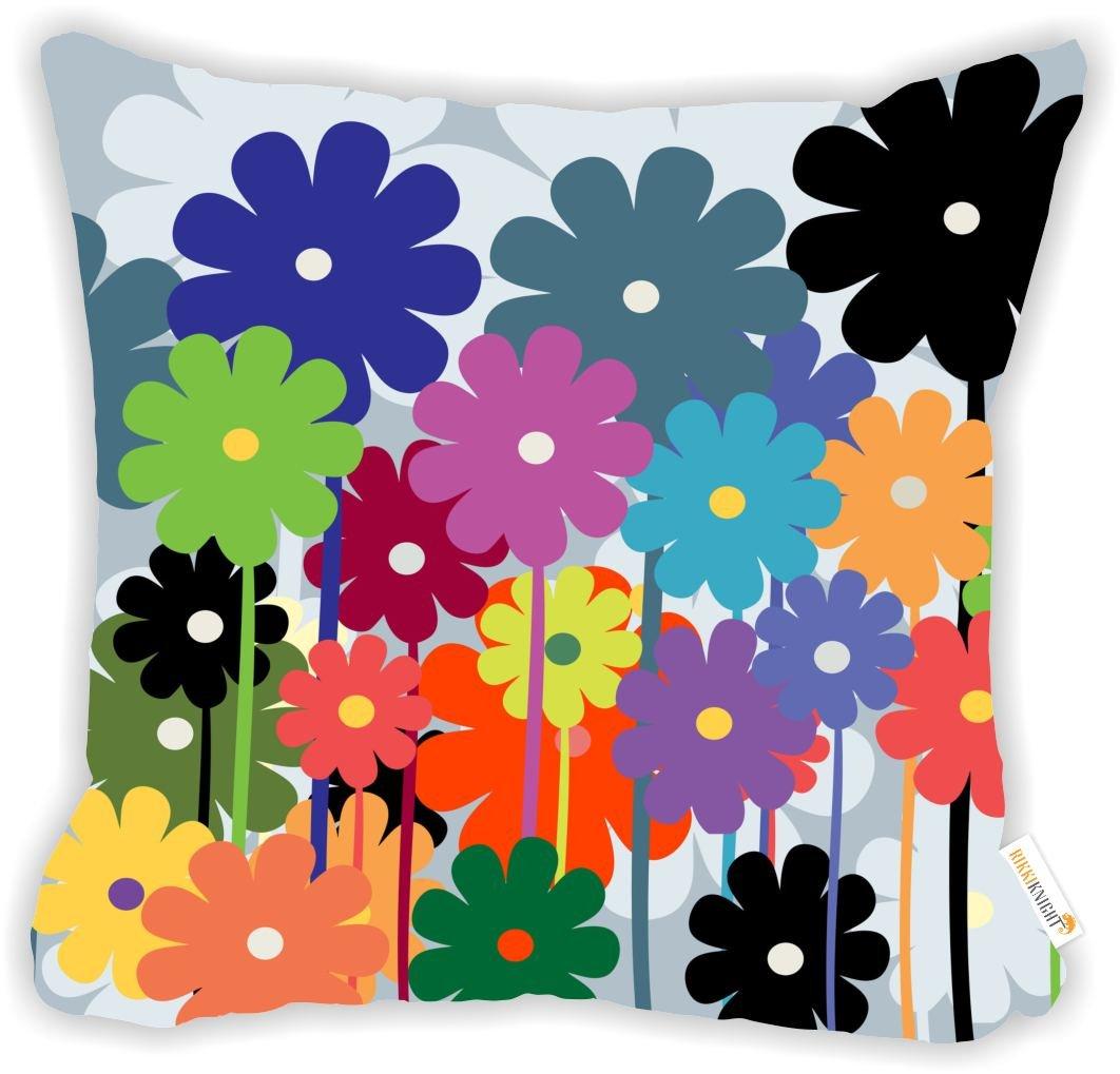 Rikki knightyellow andピンクマクロ花onグリーンマイクロファイバーThrow飾り枕クッション16