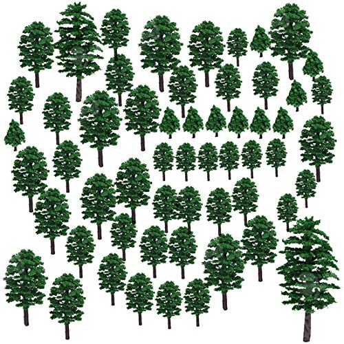 Lingxuinfo 57Pcs Mixed Model Trees Model Train Scenery Model Scenery with No Stands Fake Trees for Projects, DIY Scenery Landscape Building Model (Green)