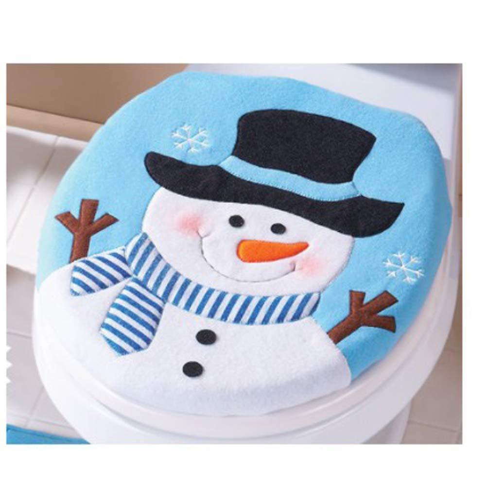 Blue Snowman Canika Christmas Snowman Toilet Seat Cover Xmas Bathroom Decoration Home Decor