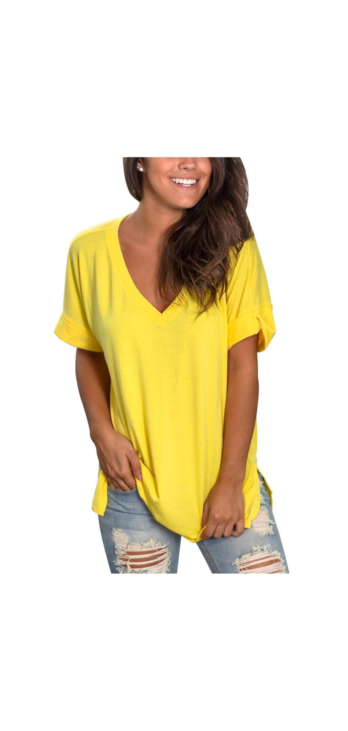 Womens Summer Short Sleeve T Shirts V Neck Tunic Roll