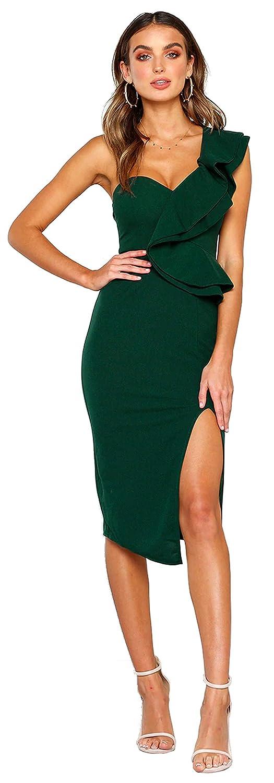 37df75c21f9c Amazon.com: Longwu Women's Elegant Ruffle One Shoulder Side Split  Sleeveless Sexy Bodycon Party Club Midi Dress: Clothing
