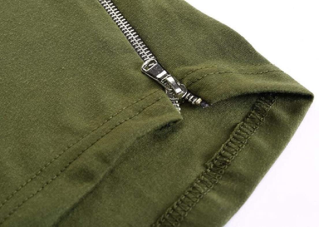 Zantt Mens Hip-hop Side Zipper Longline Hooded Short Sleeve Pullover Tee Top T-Shirts