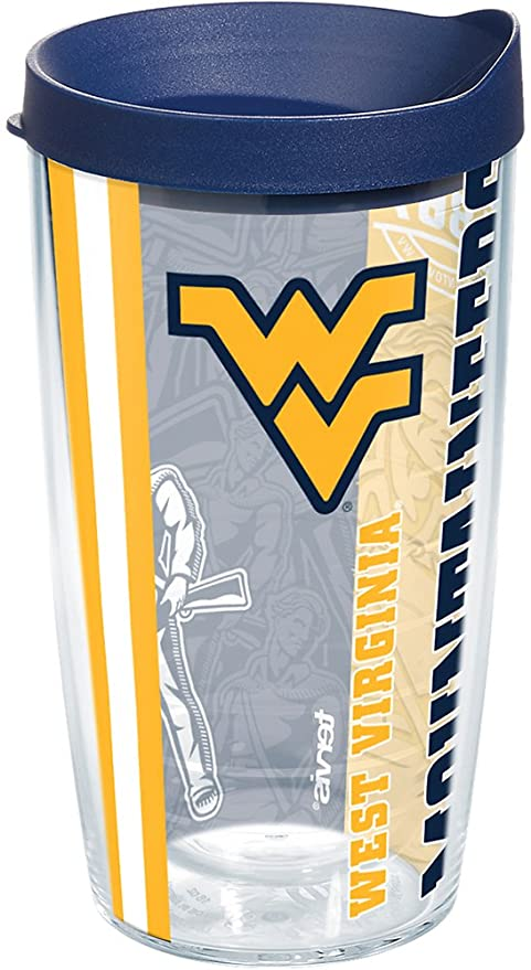 ffc066ce212 Tervis 1217309 West Virginia Mountaineers College Pride Tumbler with Wrap  and Navy Lid 16oz, Clear