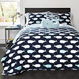 5 Piece Blue White Kids Animal Print Full Queen Quilt Set, Whale Themed Swimming Cute Nautical Casual Watercolor,Ocean Sea Fish Marine Mammal Aquatic Contemporary, Microfiber