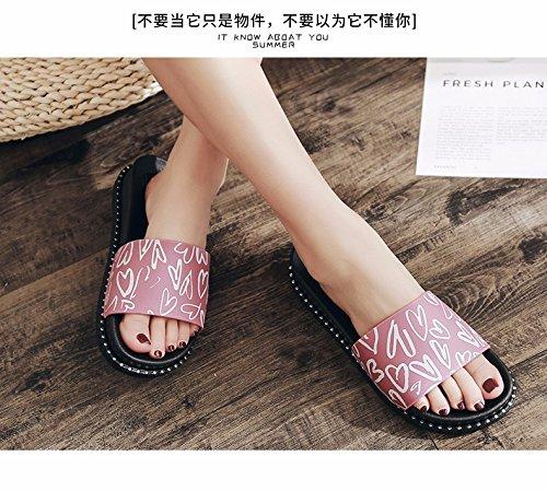la zapatillas zapatillas zapatillas suelo verano Dick versión abajo flacher coreana La XIAOGEGE moda Rosa damas xZCwOwFYq