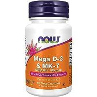 Supplements, Mega D-3 & MK-7 with Vitamins D-3 & K-2, 5,000 IU/180 mcg, Bone & Cardiovascular Support (1 Box (60 Veg…