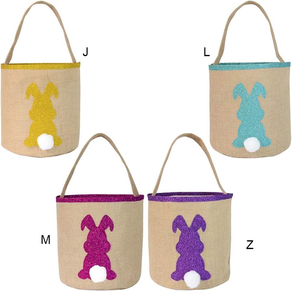 Bonbons Cadeaux Panier de Tissu de Sac de Toile de Jute de Lapin pour Oeufs de P/âques Qlans Panier doeufs de P/âques Jouets