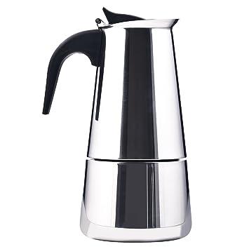 Cafetera de café para cafetera de café de espresso 4/6/9-Cup, cafetera italiana/cafetera italiana de acero inoxidable con filtro permanente y mango ...