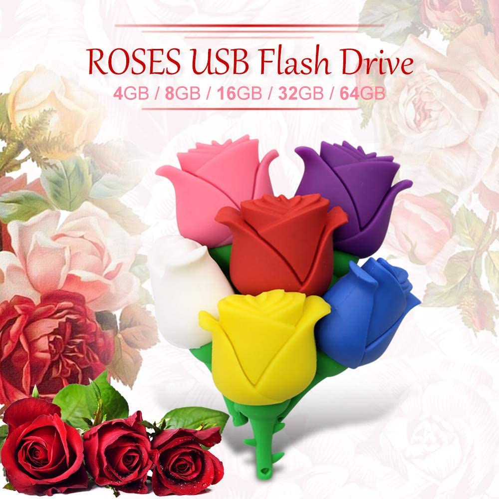 HJL USB 2.0 Flash Drive Metal Memory Stick Waterproof Portable Memory Stick with Rose Shape Design for iOS//Mac//PC