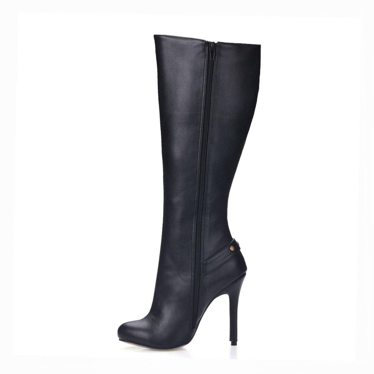 KUKIE Best 4U® Frauen Frauen 4U® Kniehohe Stiefel Premium PU Stiletto Gummisohle 12cm High Heels Spitz Niet Zipper Winter Schuhe schwarz ca441e