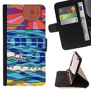 For Sony Xperia Z5 Compact Z5 Mini (Not for Normal Z5) Case , Modernos cielos Arte Extranjero Planeta Azul Rojo- la tarjeta de Crédito Slots PU Funda de cuero Monedero caso cubierta de piel