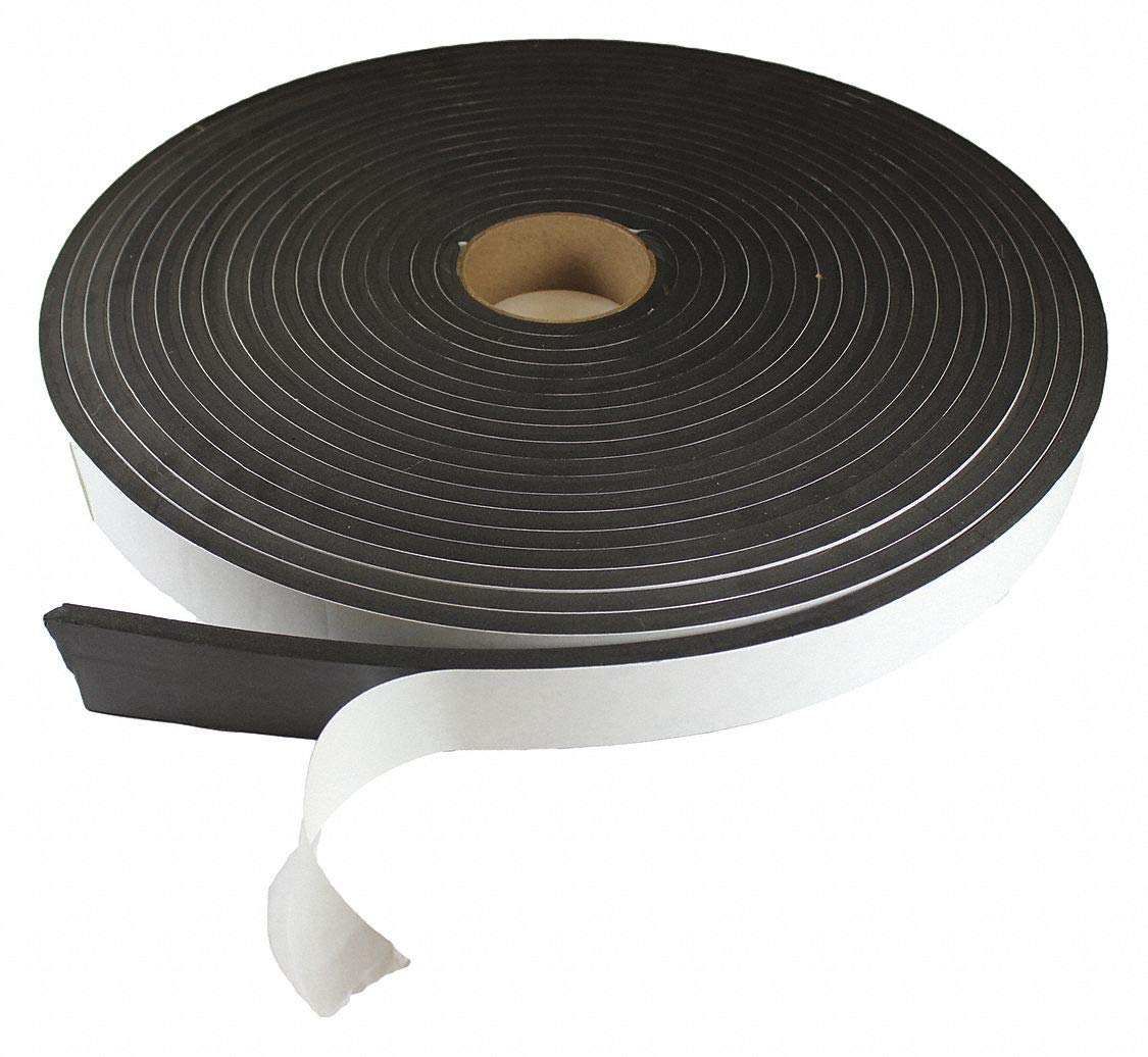 Water-Resistant Closed Cell Foam Roll, Neoprene-EPDM-SBR, 1/2'' Thick, 1'' W X 50 ft. L, Black