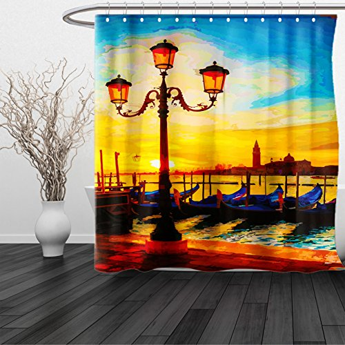 HAIXIA Shower Curtain Venice Antique Lantern and Gondolas Floating in the Grand Canal Artistic Sunrise Orange Yellow Blue