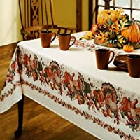 Benson Mills Thanksgiving Printed Fabric Tablecloth, 60-Inch-by-84 Inch