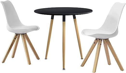 en.casa]®] Set de Comedor Mesa Redonda Negra [Ø80cm] con 2 sillas ...