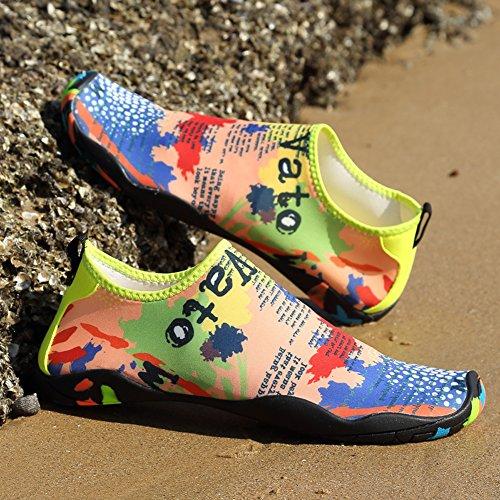 Trocknend Barfussschuhe Badeschuhe Atmungsaktiv Multicolor mit Surfschuhe Rutschfeste happygo Weiche Herren Wasserschuhe Schnell Unisex Damen H0wfqnxZ