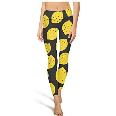 AWAWE Lemon Pattern Design Yoga Tights Cute Workout Clothes at