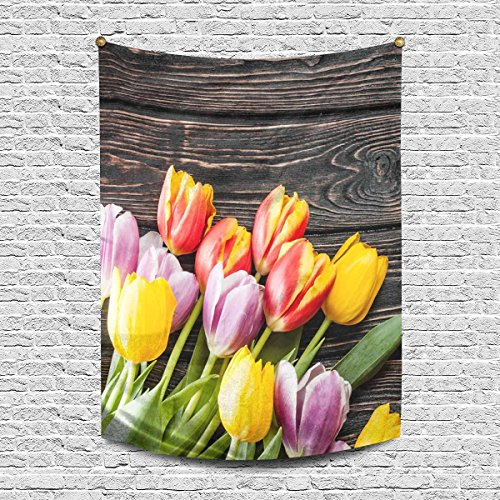 INTERESTPRINT Colorful Tulip Flowers on Vintage Wooden Table Tapestry Wall Hanging Tapestries Art for Bedroom Living Room Dorm, 40 W X 60 L Inches ()