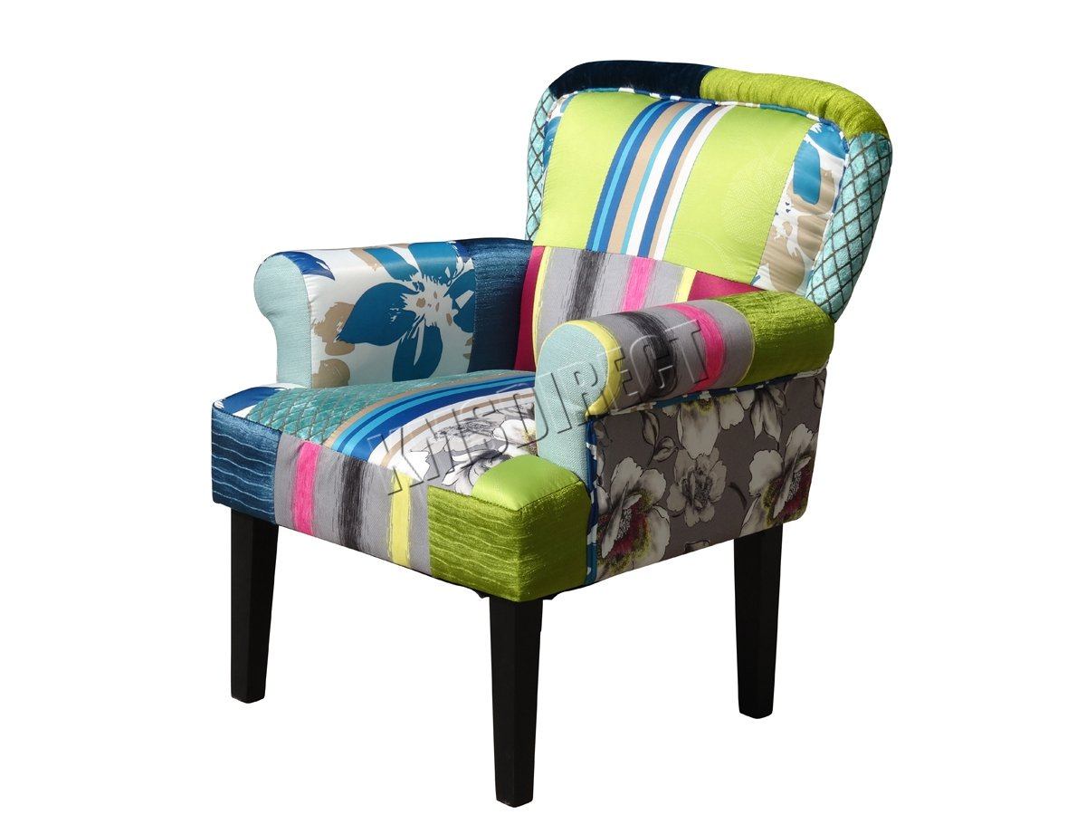 patchwork chair trendy cool set of patchwork chair fabric dining lounge seat with chaise eleven. Black Bedroom Furniture Sets. Home Design Ideas