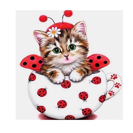 Prettyia 5D Diamond Painting Embroidery Animals Cat Cross Stitch Kit Decor