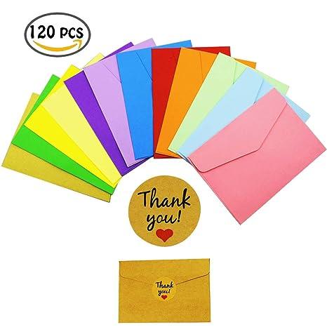 Mini Enveloppes, INTVN 120 Pièces Multi Couleur Enveloppes Petite Mignon Enveloppes avec 120 Pièces Rond