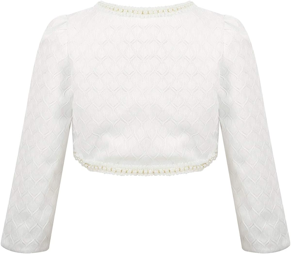 Freebily Cardigan Bambina Cerimonia Primavera Autunno Manica Lunga Bolero Bambina in Pizzo Bianco Perla Coprispalle Elegante Abito Principessa da Sposa